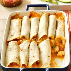 This mouthwatering chicken burrito recipe makes enough for two casseroles, so you can enjoy one today and freeze the other for a busy weeknight. They're super to have on hand for quick meals or to take to potlucks. Potluck Recipes, Dinner Recipes, Cooking Recipes, Dinner Ideas, Potluck Dishes, Picnic Recipes, Kraft Recipes, Pasta Dishes, Summer Recipes