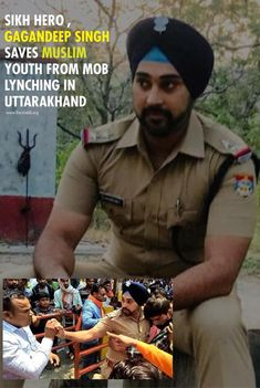 Sikh Hero , Gagandeep Singh Saves Muslim Youth From Mob Lynching In Uttarakhand  The youth, a Muslim boy was meeting a Hindu girl near a crowded temple in Girija village in Nainital.  According to a report by The Lallantop, the mob comprising of Bajrang Dal and Vishwa Hindu Parishad men had surrounded them and began manhandling the boy. SI   Gagandeep was seen confronting the violent mob, who demanded the youth be handed over to them. Indiana, Real Life Heros, Courageous People, Guru Gobind Singh, India Culture, Proud Of You, Oppression, Muslim, Cool Pictures