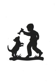 Boy and his Dog Child Silhouette die cut for scrap booking or card making. $0.80, via Etsy.