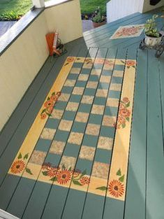 painted flooring 40 Stunning Painted Floor Tiles For Patio Decor Ideas Painted Porch Floors, Painted Floor Cloths, Porch Paint, Porch Flooring, Stenciled Floor, Painted Rug, Wood Flooring, Plywood Floors, Hand Painted