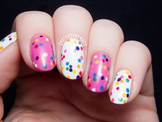 I recognized this immediately: Circus Animal Cookie Nail Art by @chalkboardnails