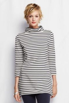 Women's 3/4-sleeve Starfish Heavyweight Jersey Portrait Collar Tunic from Lands' End  I LUV this!