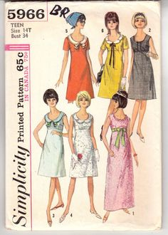 Vintage Sewing Pattern Teen Long and Short Dress by Mrsdepew