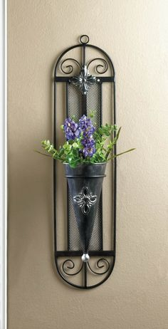 FRENCH COTTAGE WALL VASE The iron framework features pretty frills and a conical vase that will show off your favorite flowers with unmatched charisma. Mounts easily to your wall. French Cottage Style, French Country Style, French Country Decorating, Cottage Decorating, Decorating Ideas, Rustic Wall Sconces, Bathroom Wall Sconces, Candle Wall Sconces, Sconces Living Room