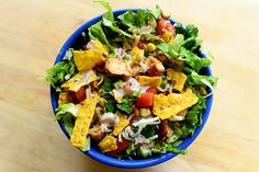 Chicken taco salad | Or chicken tacos on salad, which I suppose is probably called a taco bowl.