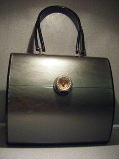 Charcoal Grey Lucite Handbag Purse