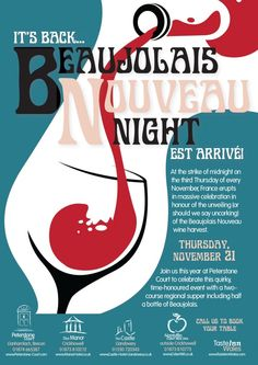 Wine Event ad POSTERS-beaujolais-nigh t2013 (Pouring Red Wine Illustration) #glass #cBlues #cRed