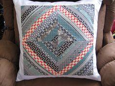 pretty string quilt throw pillow