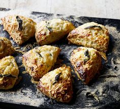 Cheddar & sage scones. Make sure you use a punchy mature cheese to shine through these savoury scones made with mustard and buttermilk