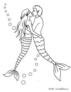 MERMAID coloring pages - Mermaid with a dolphin
