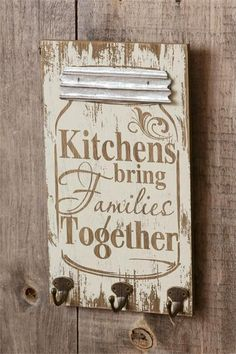 Cool gifts for canners! New Primitive Farmhouse Chic Shabby Family MASON JAR KITCHEN SIGN Key Hooks