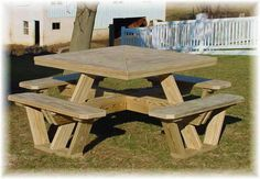 square picnic table plans free | woodideas