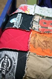 I love making rag quilts. I've been wanting to do a T shirt quilt with vintage racing shirts of Dave's. With this tutorial, I can start one for Jake out of his little shirts and add to it as he grows. GENIUS!