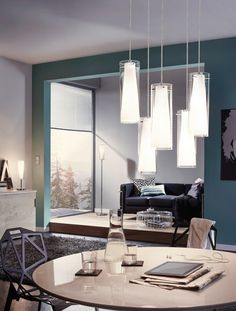 Eglo Lighting / Pinto / Chrome U0026 Opal Glass 5 Lamp Pendant Light