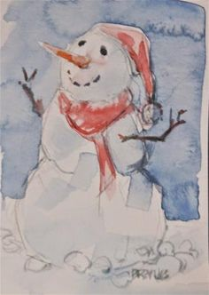 "Daily Paintworks - ""Holiday Snowman No. 2"" - Original Fine Art for Sale - © Brande Arno"