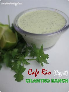 No matter how much you love the lime cilantro dressing at Cafe Rio, you will not be able to tell the difference between this copycat and the real thing. This Copycat Cafe Rio Cilantro Lime Dressing can withstand even the toughest critic. I Love Food, Good Food, Yummy Food, Yummy Yummy, Cafe Rio Dressing, Tzatziki Sauce, Cilantro Ranch Dressing, Lime Dressing, Fiesta Ranch Dressing Recipe