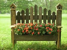 birdhouse benches planter box