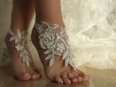weddings ivory barefoot sandalsivory Beach wedding by Weddngstore, $30.00