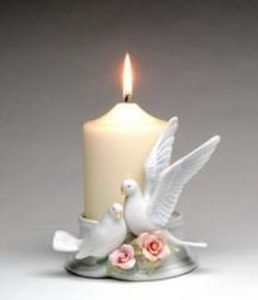 Amazon.com - Cosmos 96280 Fine Porcelain Pair of Doves Candle ...