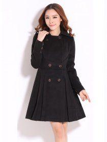 MY836 Plus Size Korean Fashion Winter Slim Woolen Coat Black