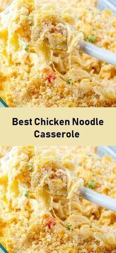 Turkey Noodle Casserole, Healthy Chicken Casserole, Chicken Noodle Recipes, Yummy Chicken Recipes, Easy Casserole Recipes, Chicken Noodle Bake, Rotisserie Chicken, Chicken Soup, Chicken Noodles