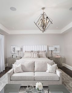 Stunning all white and gold transitional style glam bedroom decor