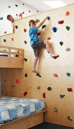 For older kids or confident kids: fun rock wall for those who are extra active or cooped in on a rainy day.