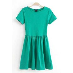 Green Pleated Short Sleeve Casual Dress ($9.99) ❤ liked on Polyvore featuring dresses, green, green dress, green day dress, short sleeve dress, green short sleeve dress and embellished dress