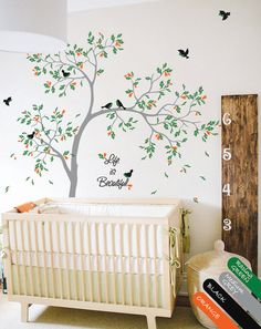 Nursery Wall Decals - Birds Tree Wall Decal with Leaves and cute Sparrow Birds - Kids Name Decal - Personalized Baby Room Decor - KR066_2