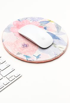Refresh your desk for spring with this diy floral mouse pad!