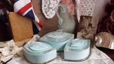 New to NostalgiqueBoutique on Etsy: 3 Chic Vintage French Deco Lucite Vanity Pots Baby Blue and Clear Plastic (29.99 GBP)