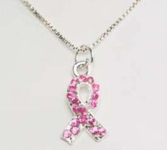 Breast Cancer Awareness Pink Swarovski Crystals Ribbon Necklace
