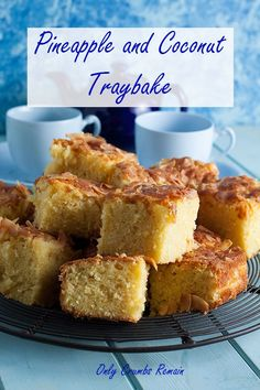 This easy to make pineapple and coconut traybake is deliciously moist and full of flavour. Ideal for cake sales, and picnics it also keeps well. Tray Bake Recipes, Easy Cake Recipes, Easy Desserts, Baking Recipes, Sweet Recipes, Dessert Recipes, Loaf Recipes, Coconut Recipes, Pie Dessert