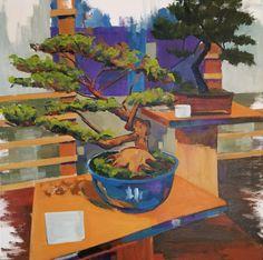 Jenn Hallgren Oil Painting 2018 Contemporary Gardenscape Series Bonsai Garden Oil on Canvas Balance Art, Website Images, Garden Painting, Bonsai Garden, Paintings I Love, Henri Matisse, Buy Art, Serenity, Oil On Canvas