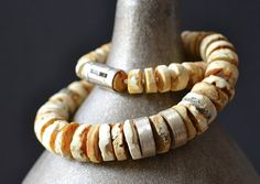 White Amber Necklace Natural Raw Unpolished Necklace by KARUBA, $438.00