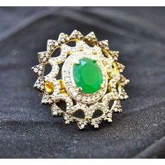 Diamond Cocktail Ring with Emerald