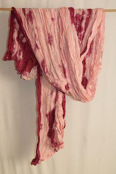 cocon.commerz PRIVATSACHEN Großer Crashschal aus Batik STREIFENSEIDE in rosa #nachhaltig seit 1984 #seide #leinen #linen #silk #handgefärbt #shibori #hand-dyed