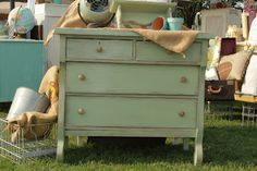 Refinished green dresser and burlap coffee sack as runner.