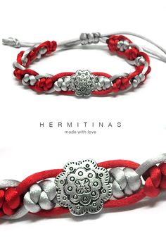 Silk cord bracelet with knots and metal beads in grey and red Grey and red silk cord bracelet with flower metal bead bicolor ratttail cord (7.00 EUR) by Hermitinas