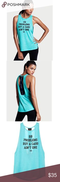 "NWT Victoria's Secret VSX workout tank top M Brand new with tags! The Player logo tank ""99 problems but a carb ain't one"". Join team VS in this stay-cool tank: logo elastic spans the open back to show off your sport bra.  Scoopneck Low armholes Cut-out back with logo elastic Body-Wick keeps you cool & dry Machine wash. Tumble dry Victoria's Secret Tops Tank Tops"