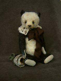 Ivy,Vintage styled Mohair Panda Style Artist Bear by Aerlinn bears. $290.00, via Etsy.