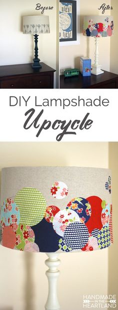 DIY Lampshade Upcycle, a easy fun way to re-do a lamp you don't want anymore! Home Crafts, Diy Home Decor, Diy Crafts, Diy Lampshade, Decorate Lampshade, Diy Décoration, Baby Kind, Diy Design, Diy Furniture