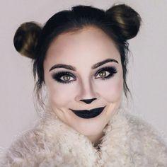Cute and simple panda bear makeup that's perfect for halloween! -#halloween #makeup #panda #perfect #simple -#Genel
