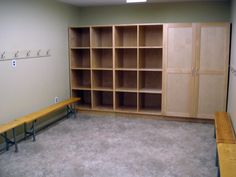 dressing room will be studio colors needs hooks, chairs/benches, and lockers/cubbies