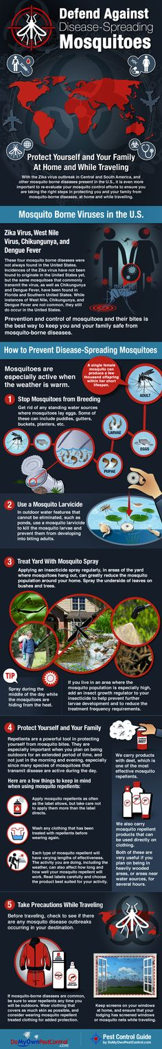 Learn how to reduce the risk of mosquito borne diseases such as the Zika Virus, Dengue Fever, West Nile, and Chikungunya by preventing mosquitoes in the first place! If you already have a mosquito problem this graphic will also show you how to get rid of them, and how to prevent yourself from being bitten while traveling and being outdoors.