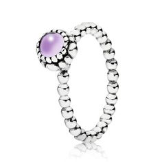 Pandora Silver Beaded Amethyst Ring 190854AM £40.00