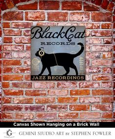 BLACK CAT records original graphic illustration art on gallery wrapped canvas by stephen fowler by geministudio on Etsy https://www.etsy.com/listing/112948757/black-cat-records-original-graphic