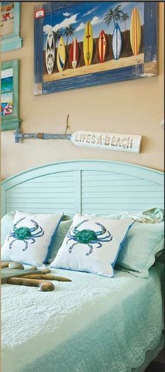 Aqua bedroom: Cute Crab Pillows - can be found at CBH: http://caronsbeachhouse.com/beach-house-pillows/beach-cottage-style-pillows/male-blue-crab-beach-house-pillow.html