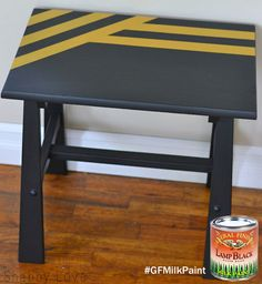 Shabby Love (http://vintagemellie.blogspot.com/) used GF Lamp Black Milk Paint to create this funky cool side table!