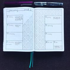 """198 Me gusta, 12 comentarios - Power Of Creativity (@bujopowerofcreativity) en Instagram: """"The second weekly of 2018. So I got to draw a bit. This pattern made me kinda cross eyed  But with…"""" Bullet Journal 2020, Bullet Journal Themes, Bullet Journal Layout, Bullet Journal Inspiration, My Planner Colibri, Journal Pages, Journal Ideas, Cross Eyed, Commonplace Book"""